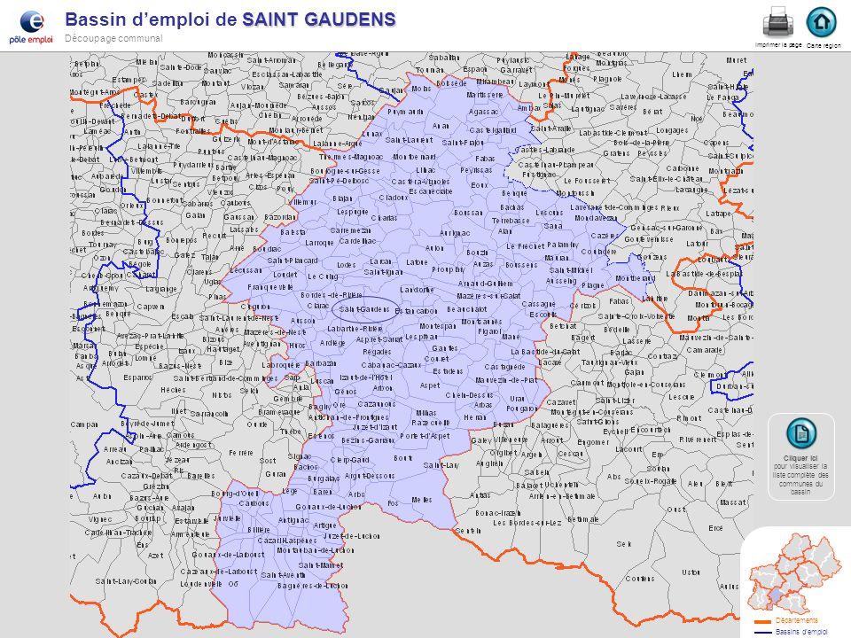 SAINT GAUDENS Bassin demploi de SAINT GAUDENS Découpage communal St gaudens Carte région Imprimer la page Cliquer ici Cliquer ici pour visualiser la l