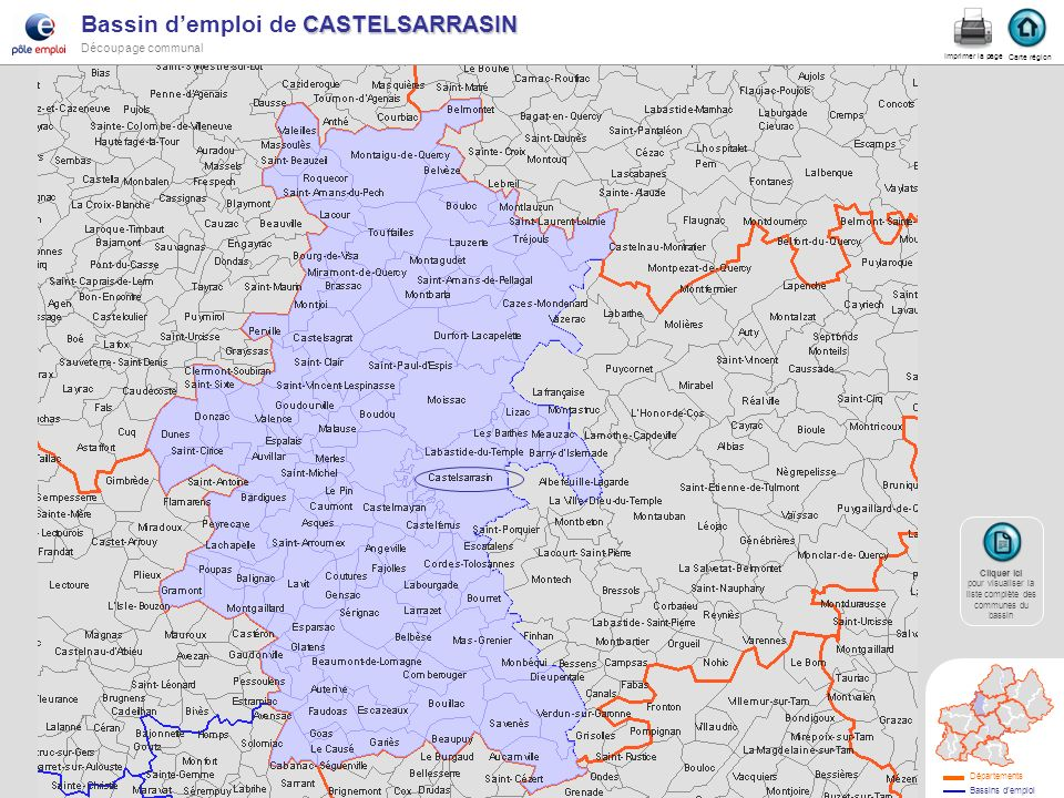 CASTELSARRASIN Bassin demploi de CASTELSARRASIN Découpage communal Castelsa. Carte région Imprimer la page Cliquer ici Cliquer ici pour visualiser la