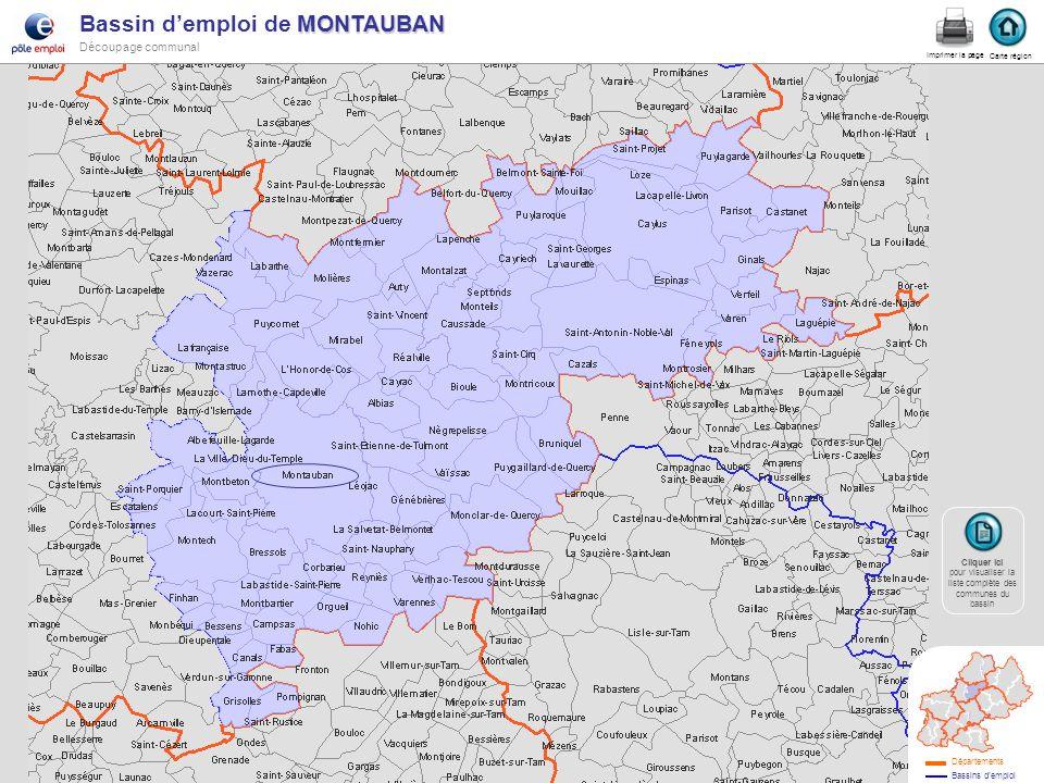 MONTAUBAN Bassin demploi de MONTAUBAN Découpage communal montau Carte région Imprimer la page Cliquer ici Cliquer ici pour visualiser la liste complèt
