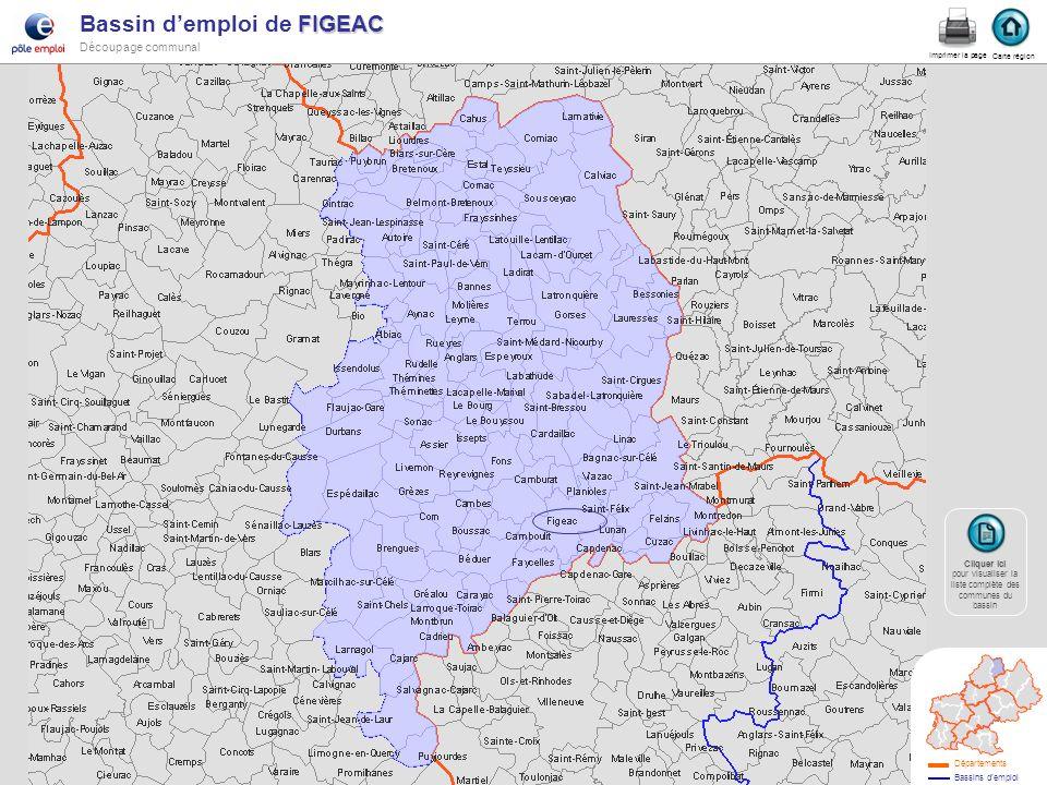 FIGEAC Bassin demploi de FIGEAC Découpage communal figeac Carte région Imprimer la page Cliquer ici Cliquer ici pour visualiser la liste complète des