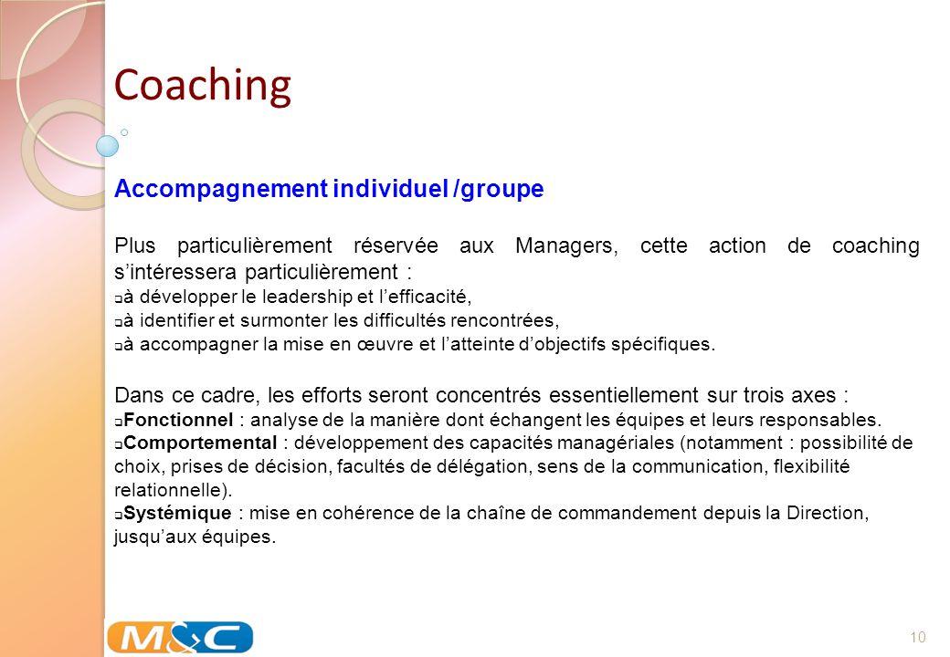 10 Coaching Accompagnement individuel /groupe Plus particulièrement réservée aux Managers, cette action de coaching sintéressera particulièrement : à