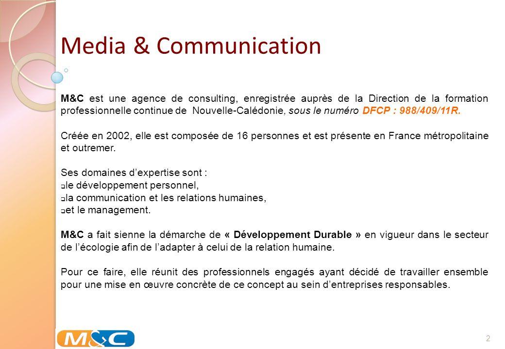 2 M&C est une agence de consulting, enregistrée auprès de la Direction de la formation professionnelle continue de Nouvelle-Calédonie, sous le numéro