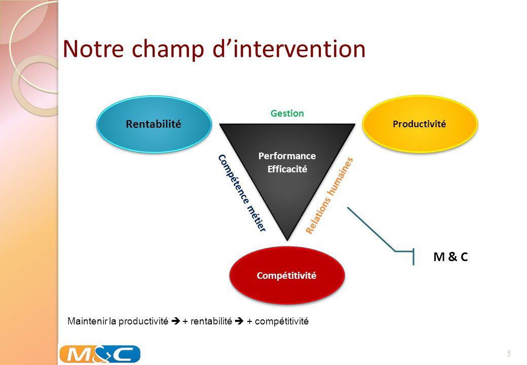 5 Gestion Performance Efficacité Compétence métier Relations humaines Notre champ dintervention M & C Maintenir la productivité + rentabilité + compét