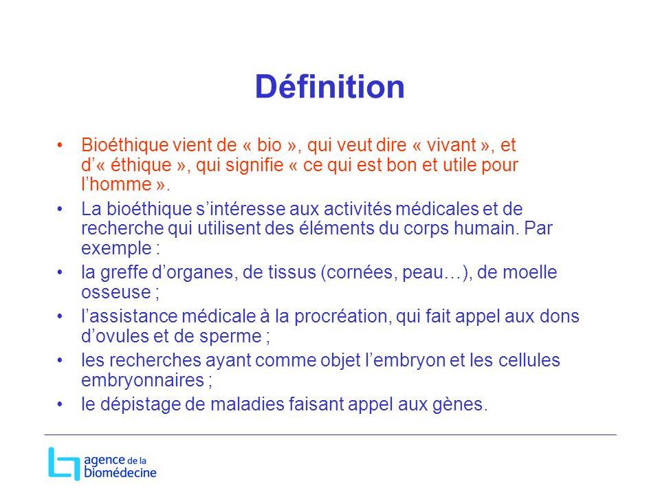 Définition Bioéthique vient de « bio », qui veut dire « vivant », et d« éthique », qui signifie « ce qui est bon et utile pour lhomme ». La bioéthique