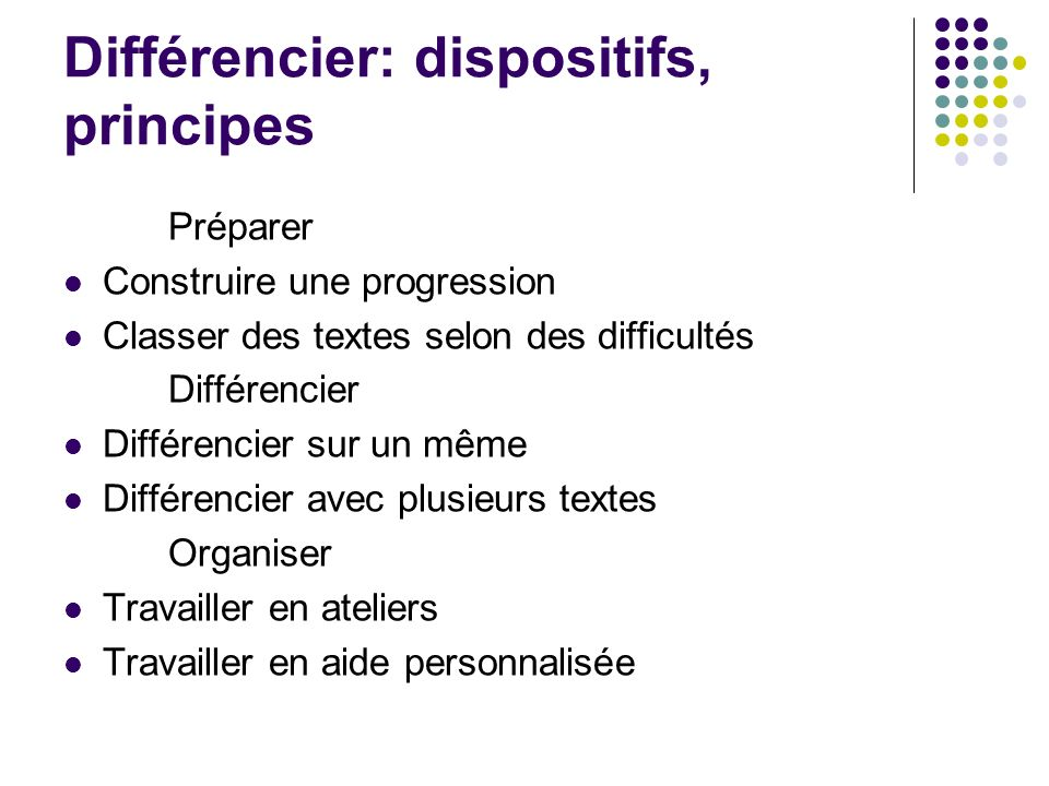 Différencier: dispositifs, principes Préparer Construire une progression Classer des textes selon des difficultés Différencier Différencier sur un mêm
