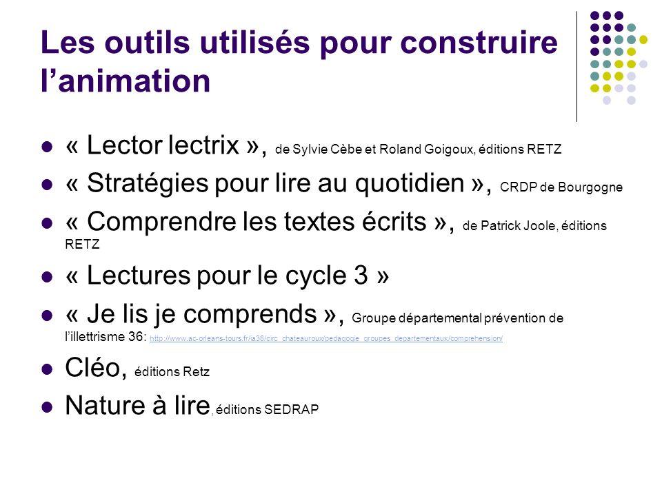Les outils utilisés pour construire lanimation « Lector lectrix », de Sylvie Cèbe et Roland Goigoux, éditions RETZ « Stratégies pour lire au quotidien