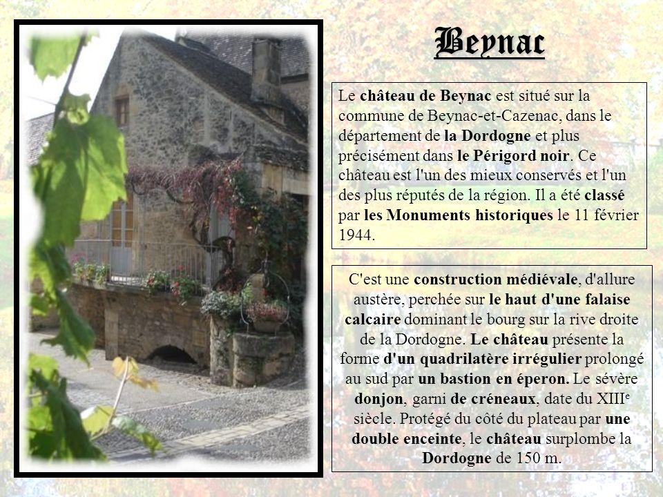 Le château de Beynac est situé sur la commune de Beynac-et-Cazenac, dans le département de la Dordogne et plus précisément dans le Périgord noir.