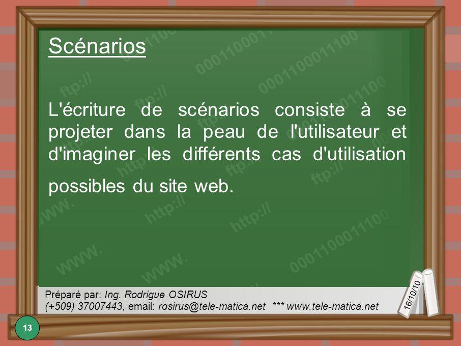 16/10/10 Préparé par: Ing. Rodrigue OSIRUS (+509) 37007443, email: rosirus@tele-matica.net *** www.tele-matica.net Scénarios L'écriture de scénarios c