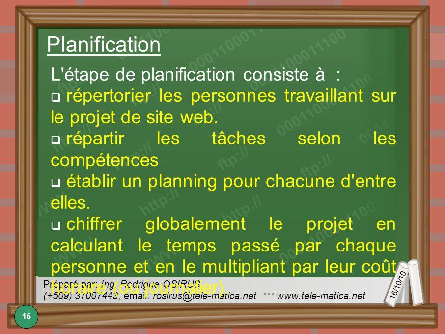 16/10/10 Préparé par: Ing. Rodrigue OSIRUS (+509) 37007443, email: rosirus@tele-matica.net *** www.tele-matica.net Planification L'étape de planificat