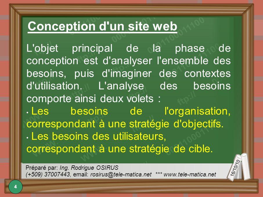 16/10/10 Préparé par: Ing. Rodrigue OSIRUS (+509) 37007443, email: rosirus@tele-matica.net *** www.tele-matica.net Conception d'un site web L'objet pr