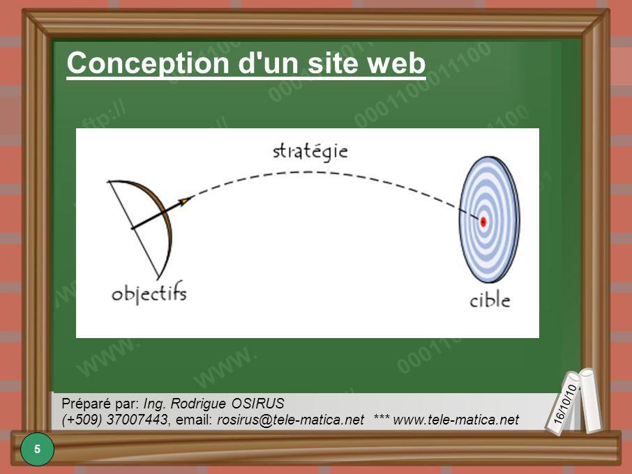 16/10/10 Préparé par: Ing. Rodrigue OSIRUS (+509) 37007443, email: rosirus@tele-matica.net *** www.tele-matica.net Conception d'un site web 5