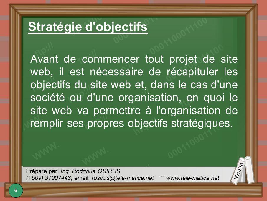 16/10/10 Préparé par: Ing. Rodrigue OSIRUS (+509) 37007443, email: rosirus@tele-matica.net *** www.tele-matica.net Stratégie d'objectifs Avant de comm