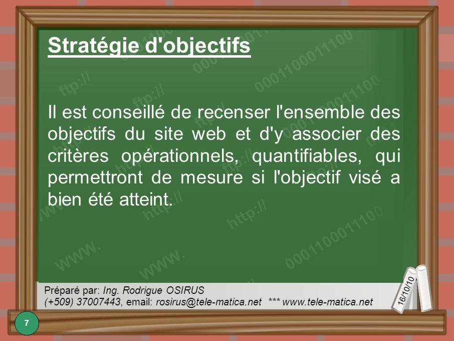 16/10/10 Préparé par: Ing. Rodrigue OSIRUS (+509) 37007443, email: rosirus@tele-matica.net *** www.tele-matica.net Stratégie d'objectifs Il est consei
