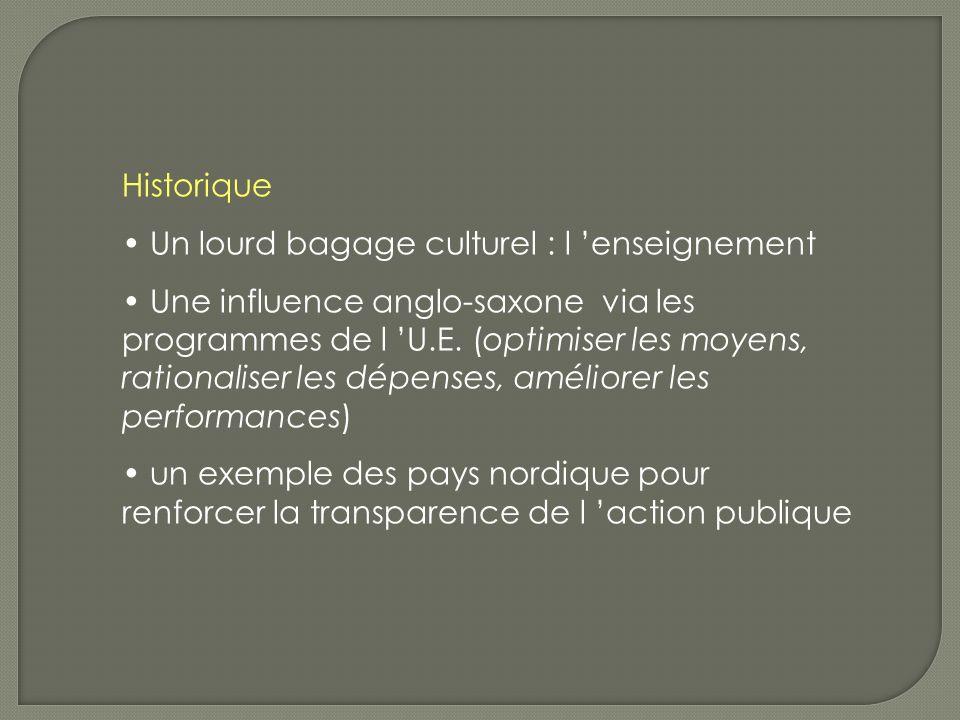 Historique Un lourd bagage culturel : l enseignement Une influence anglo-saxone via les programmes de l U.E.