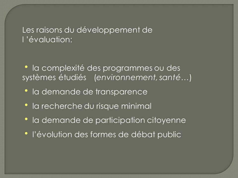 Les raisons du développement de l évaluation: la complexité des programmes ou des systèmes étudiés (environnement, santé…) la demande de transparence la recherche du risque minimal la demande de participation citoyenne lévolution des formes de débat public