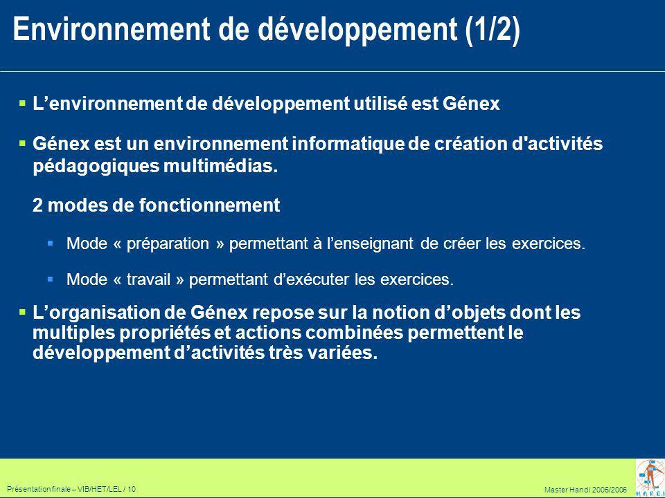 Master Handi 2005/2006 Présentation finale – VIB/HET/LEL / 10 Lenvironnement de développement utilisé est Génex Génex est un environnement informatique de création d activités pédagogiques multimédias.