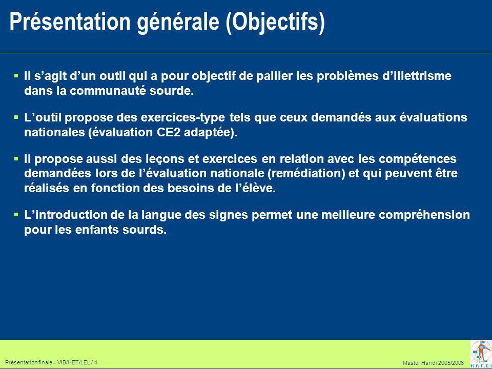 Master Handi 2005/2006 Présentation finale – VIB/HET/LEL / 15 Module Leçons et exercices : Les différents modules (3/3) Leçons Thème 1 Thème 2 Exercices Thème 3 Exercice 1.2 Exercice 2.2 Exercice 3.2 Thème 4 Exercice 1.1 Exercice 2.1 Exercice 3.1 Exercice 4.2 Exercice 4.1