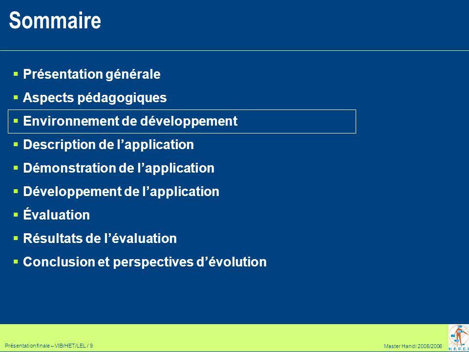 Master Handi 2005/2006 Présentation finale – VIB/HET/LEL / 30 Enrichir le module « Évaluation Nationale » : Finaliser la séquence 2, ajouter les séquences 3 et 4 Ajouter les évaluations des autres années au fur et à mesure de leur apparition (2005, 2006, …) Finaliser le didacticiel Introduire le passage automatique entre les différents niveaux des exercices en fonction des résultats obtenus.