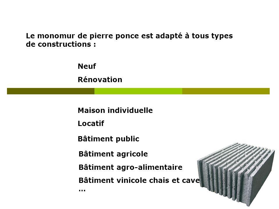 Le monomur de pierre ponce est adapté à tous types de constructions : Neuf Rénovation Maison individuelle Locatif Bâtiment public Bâtiment agricole Bâ