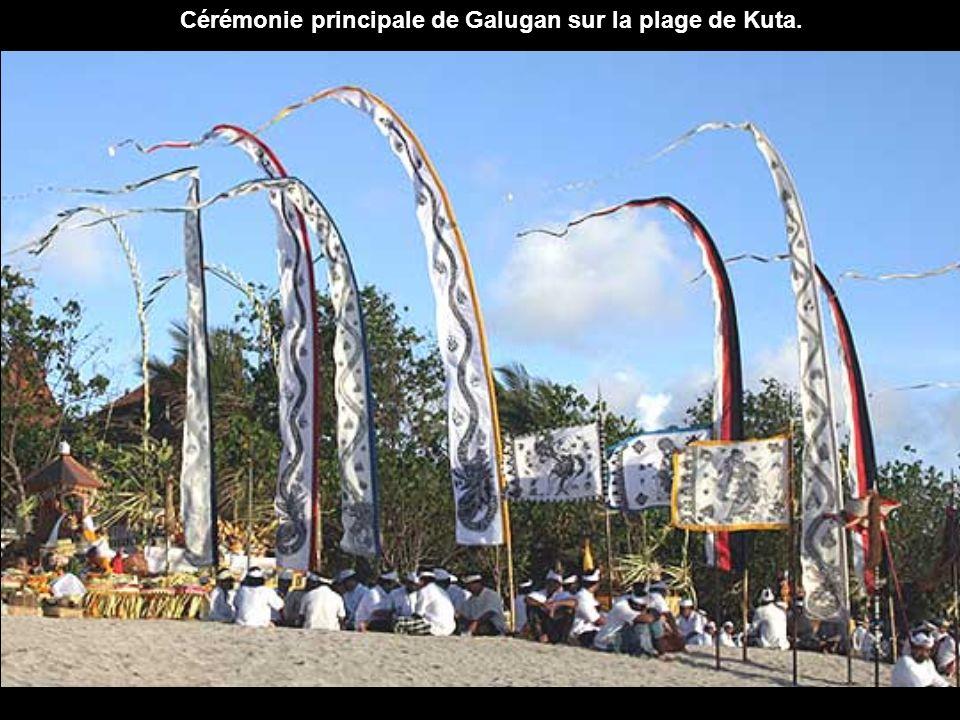 Chaque maison contient un petit temple où l'on dépose les offrandes quotidiennes dans des paniers en feuilles de palmes séchées contenant des fleurs,