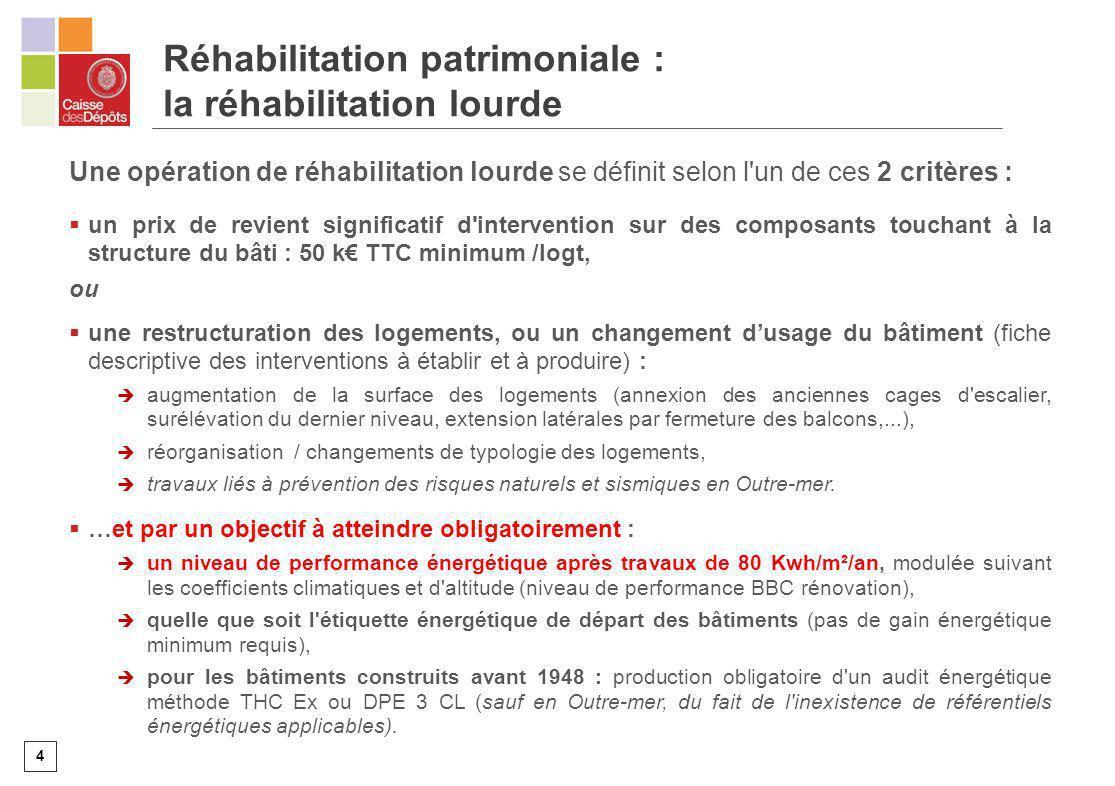 4 Une opération de réhabilitation lourde se définit selon l'un de ces 2 critères : un prix de revient significatif d'intervention sur des composants t