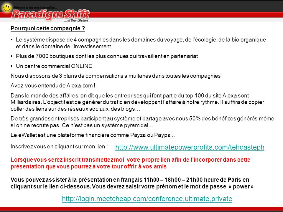 Une fois connecté sur le site, cliquez sur Start et remplissez le formulaire dadhésion, un email de confirmation vous sera transmis, vous pourrez sélectionner la langue française Acceptez les conditions et validez Reproduisez le code indiqué sur votre page Comment sinscrire