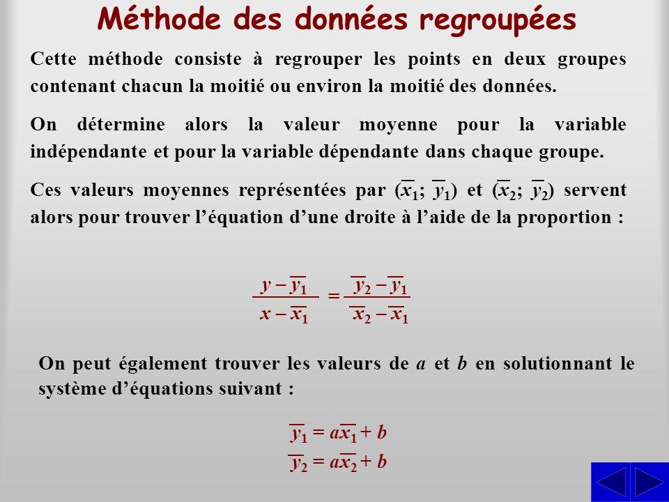 Méthode des données regroupées Cette méthode consiste à regrouper les points en deux groupes contenant chacun la moitié ou environ la moitié des donné