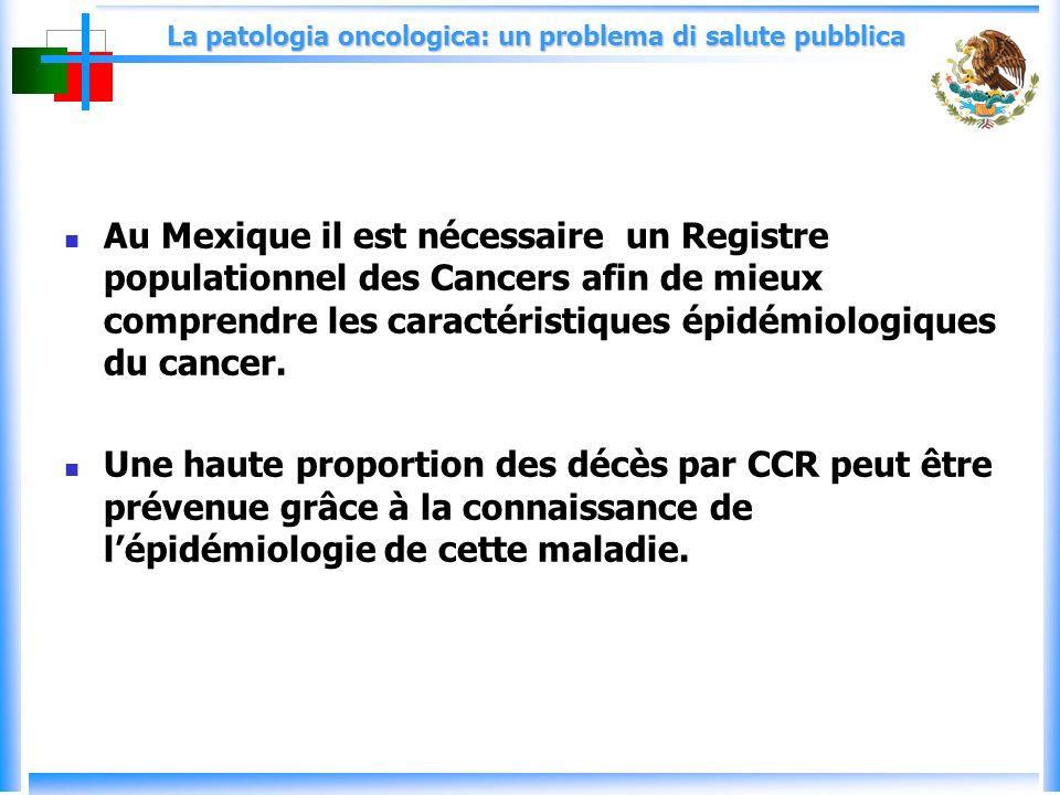 La patologia oncologica: un problema di salute pubblica Au Mexique il est nécessaire un Registre populationnel des Cancers afin de mieux comprendre les caractéristiques épidémiologiques du cancer.