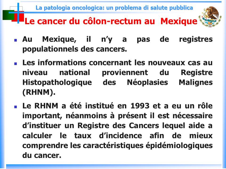 La patologia oncologica: un problema di salute pubblica Le cancer du côlon-rectum au Mexique Au Mexique, il ny a pas de registres populationnels des cancers.