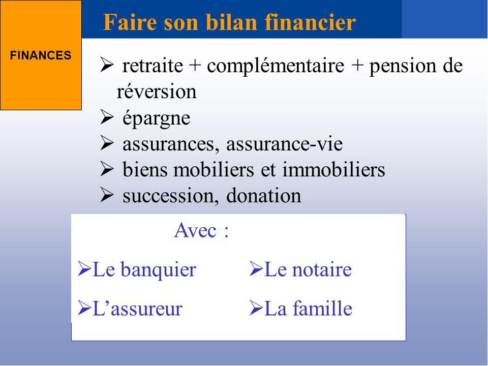 retraite + complémentaire + pension de réversion épargne assurances, assurance-vie biens mobiliers et immobiliers succession, donation FINANCES Faire