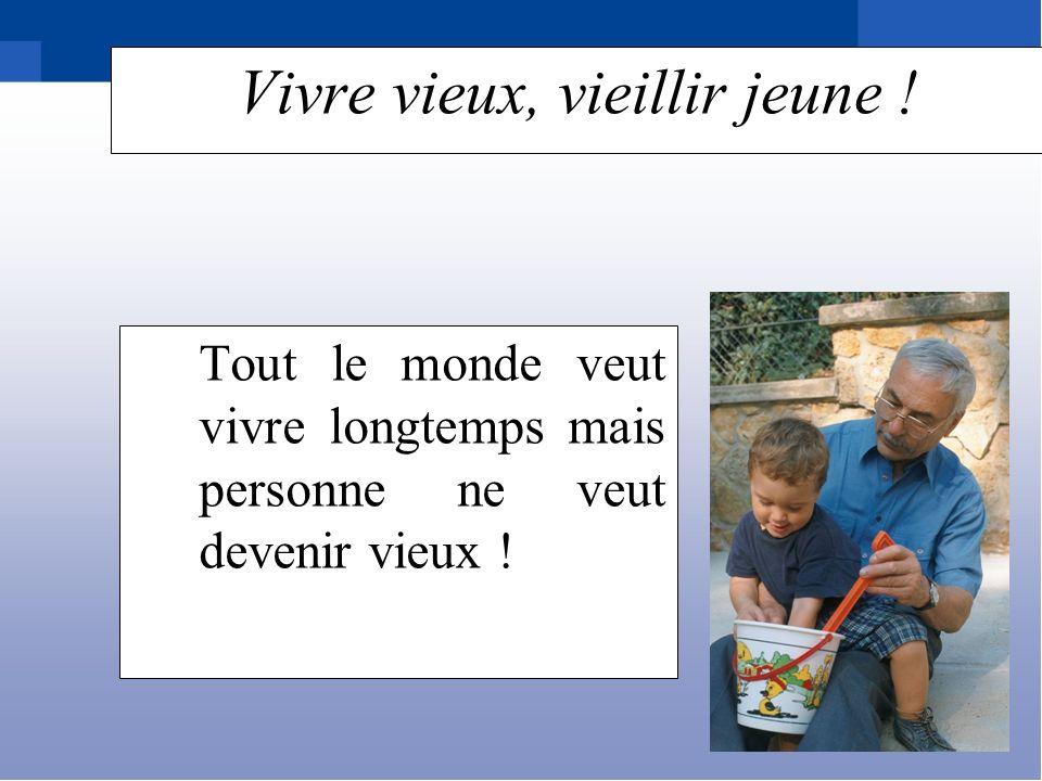 (* Sondage NOTRE TEMPS/SOFRES – juin 2004) Pour les personnes interrogées Vieillesse = dépendance = ennuis de santé = maladies liées à lâge Les craintes…