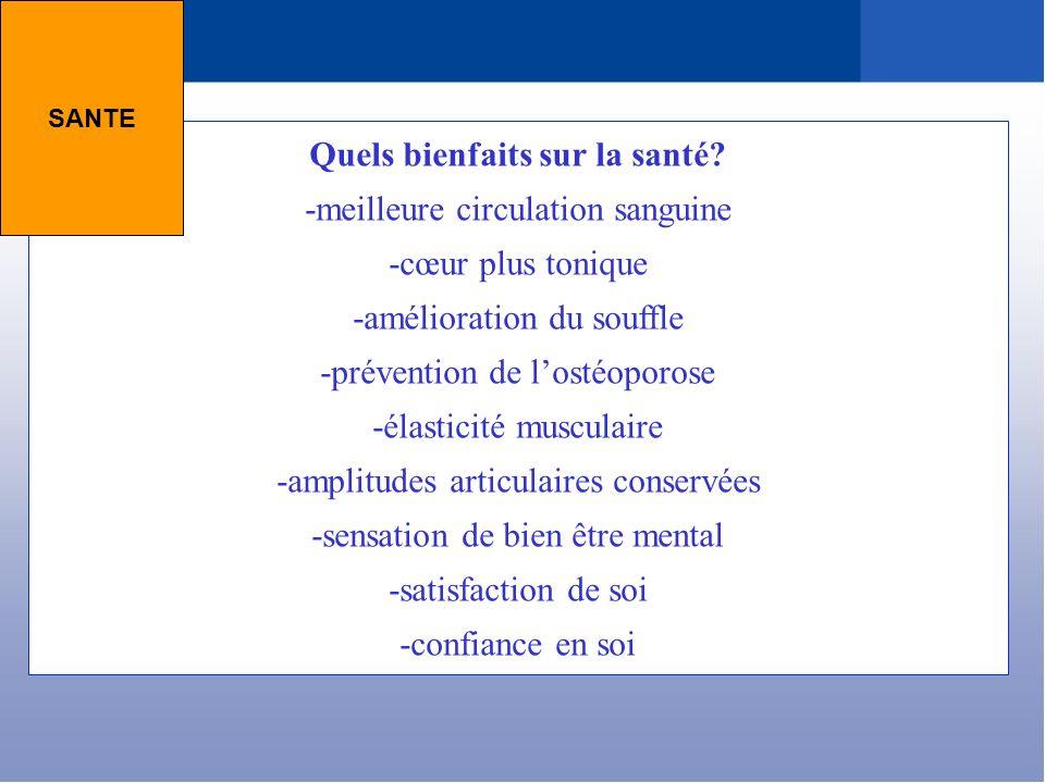 Quels bienfaits sur la santé? -meilleure circulation sanguine -cœur plus tonique -amélioration du souffle -prévention de lostéoporose -élasticité musc
