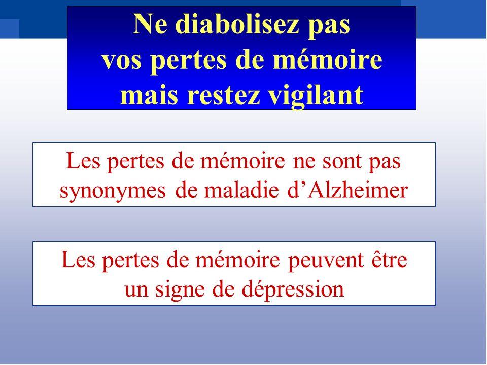 Les pertes de mémoire ne sont pas synonymes de maladie dAlzheimer Ne diabolisez pas vos pertes de mémoire mais restez vigilant Les pertes de mémoire p