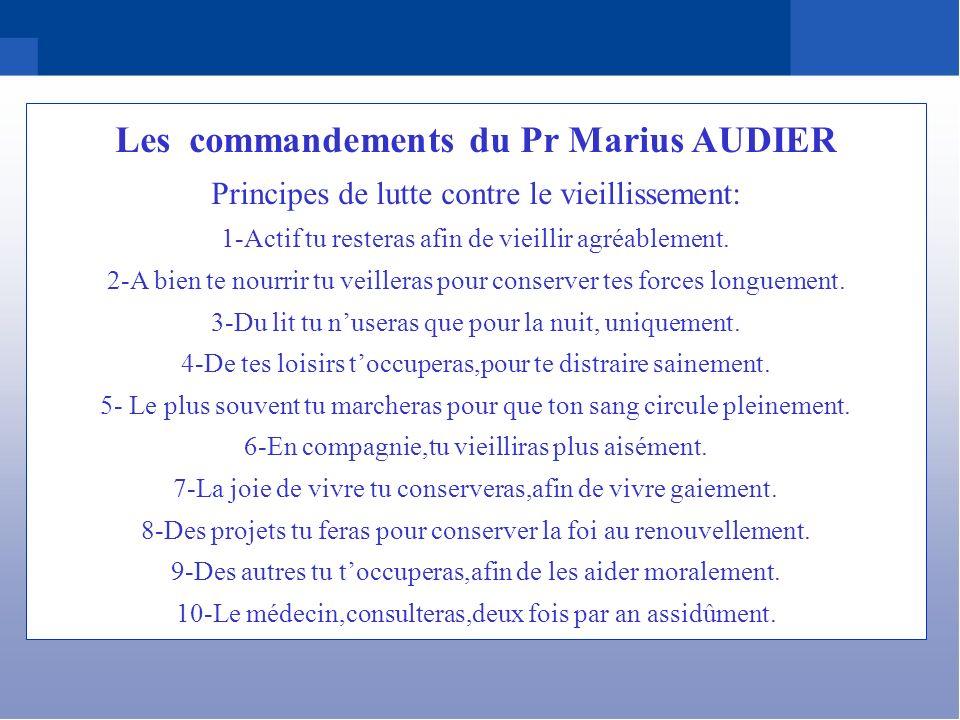 Les commandements du Pr Marius AUDIER Principes de lutte contre le vieillissement: 1-Actif tu resteras afin de vieillir agréablement. 2-A bien te nour