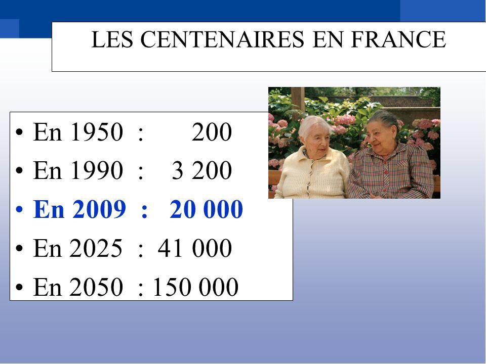En 1950 : 200 En 1990 : 3 200 En 2009 : 20 000 En 2025 : 41 000 En 2050 : 150 000 LES CENTENAIRES EN FRANCE