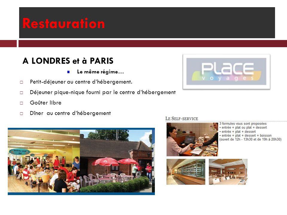 Restauration A LONDRES et à PARIS Le même régime… Petit-déjeuner au centre dhébergement. Déjeuner pique-nique fourni par le centre dhébergement Goûter