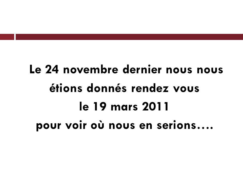 Le 24 novembre dernier nous nous étions donnés rendez vous le 19 mars 2011 pour voir où nous en serions….