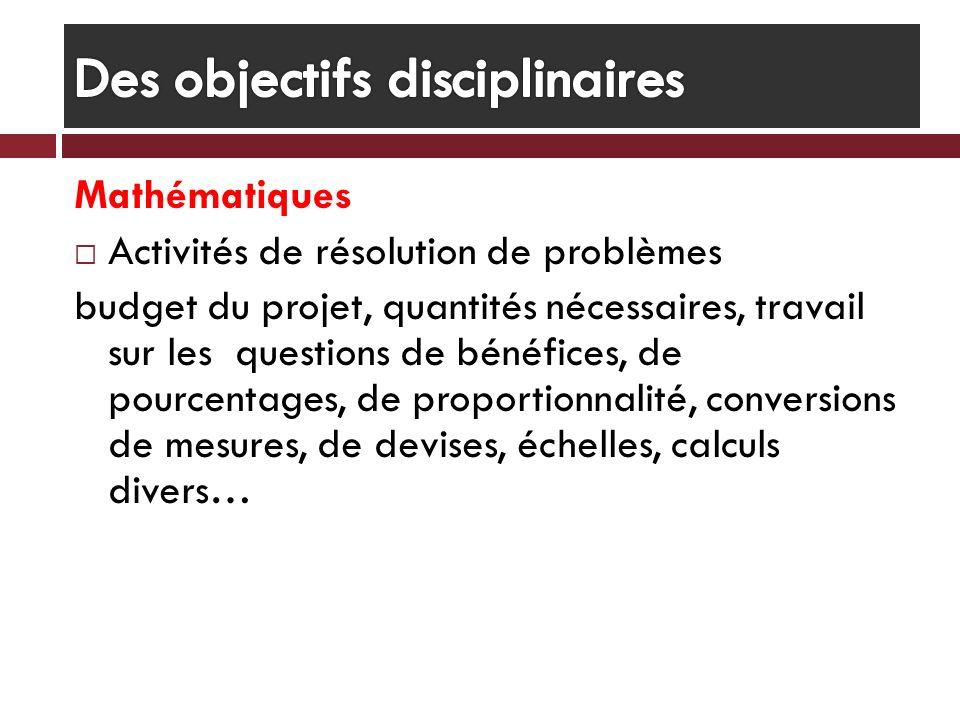 Mathématiques Activités de résolution de problèmes budget du projet, quantités nécessaires, travail sur les questions de bénéfices, de pourcentages, d