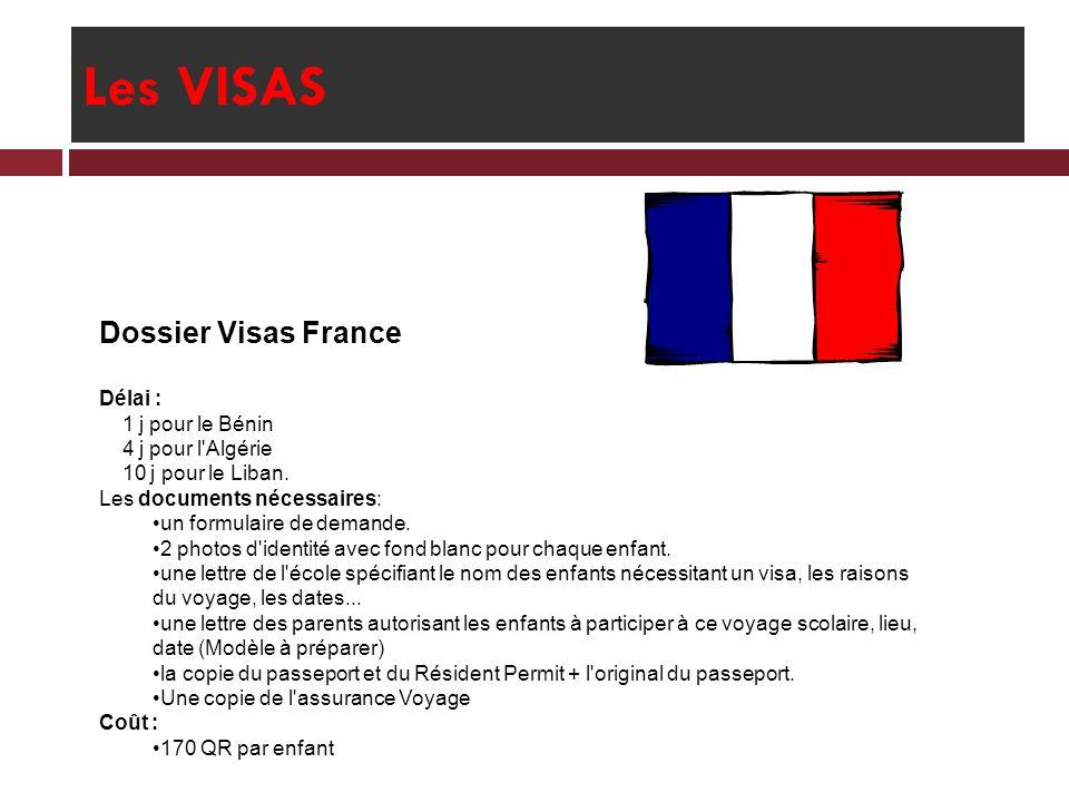 Les VISAS Dossier Visas France Délai : 1 j pour le Bénin 4 j pour l'Algérie 10 j pour le Liban. Les documents nécessaires: un formulaire de demande. 2