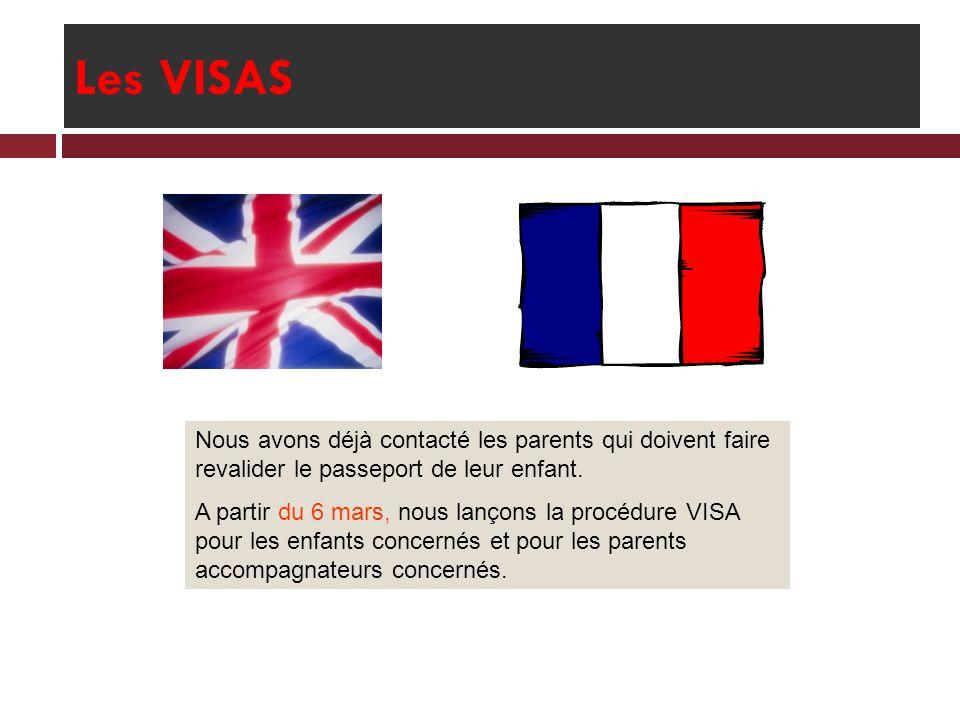 Les VISAS Nous avons déjà contacté les parents qui doivent faire revalider le passeport de leur enfant. A partir du 6 mars, nous lançons la procédure