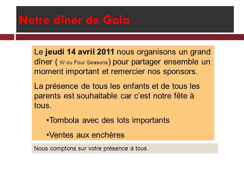Notre dîner de Gala Le jeudi 14 avril 2011 nous organisons un grand dîner ( W ou Four Seasons ) pour partager ensemble un moment important et remercie