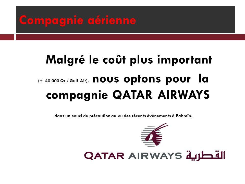 Compagnie aérienne Malgré le coût plus important (+ 40 000 Qr / Gulf Air), nous optons pour la compagnie QATAR AIRWAYS dans un souci de précaution au