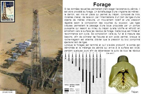Forage Si les données recueillies permettent d'envisager l'existence du pétrole, il est alors procédé au forage. Un échafaudage d'une vingtaine de mèt