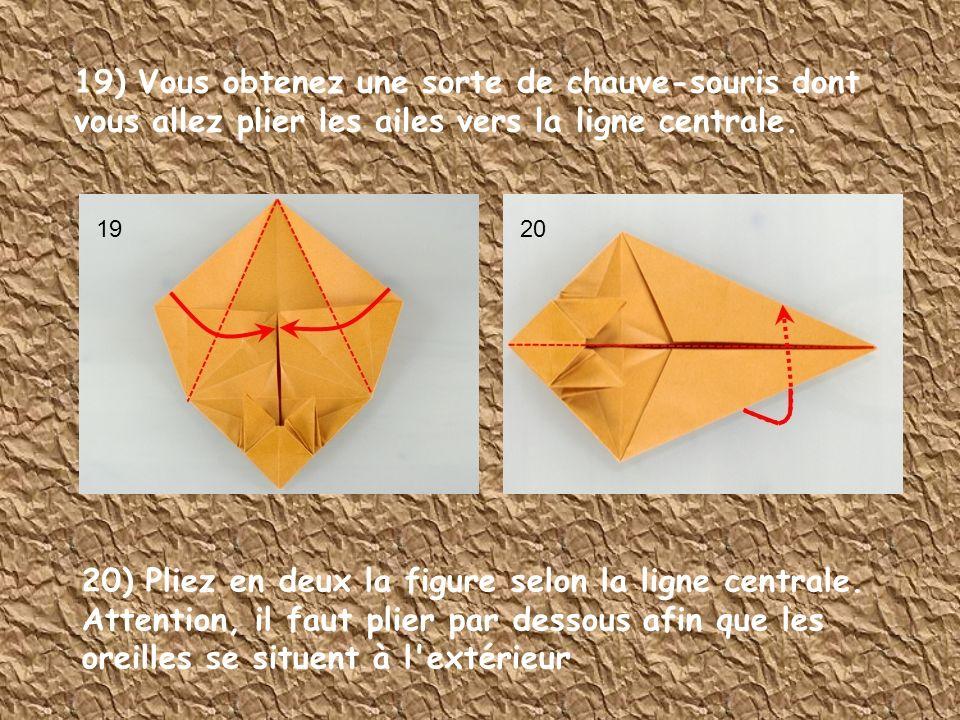 19) Vous obtenez une sorte de chauve-souris dont vous allez plier les ailes vers la ligne centrale. 20) Pliez en deux la figure selon la ligne central