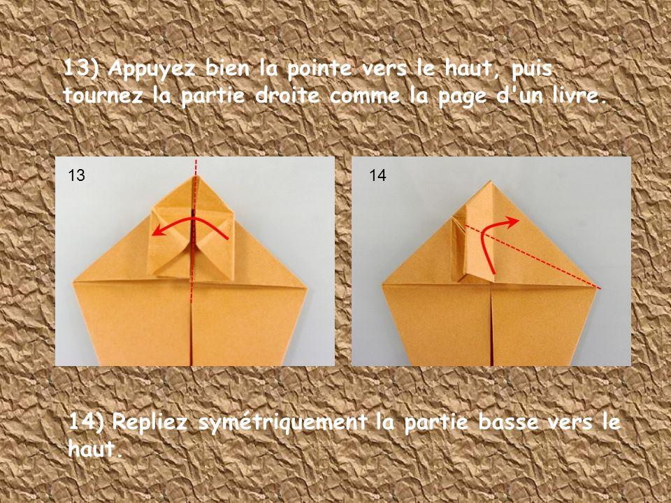 13) Appuyez bien la pointe vers le haut, puis tournez la partie droite comme la page d'un livre. 14) Repliez symétriquement la partie basse vers le ha
