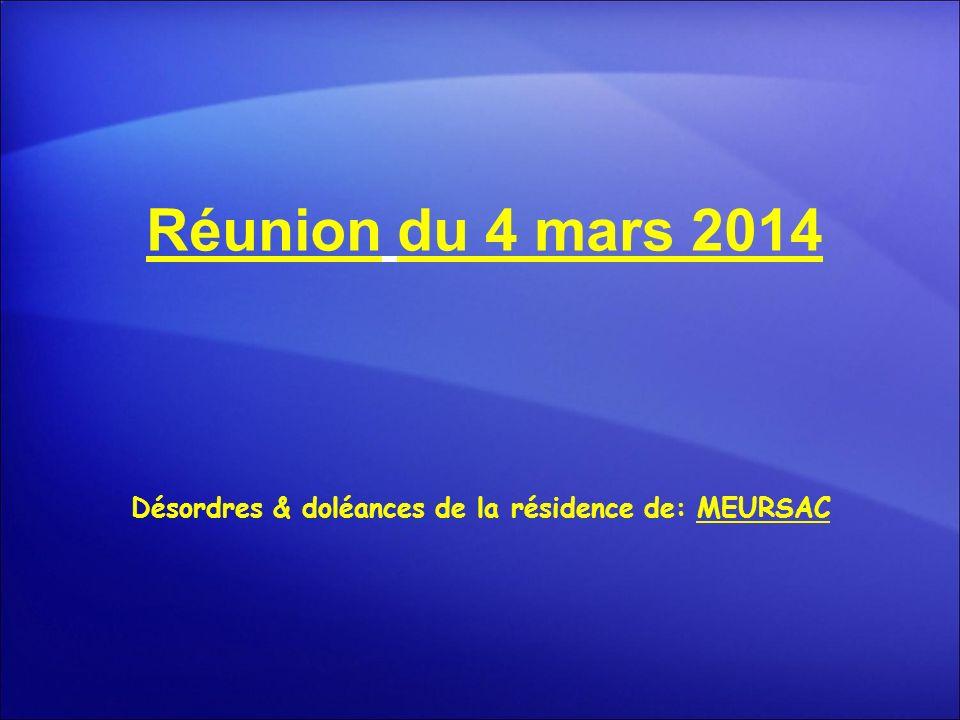 Réunion du 4 mars 2014 Désordres & doléances de la résidence de: MEURSAC