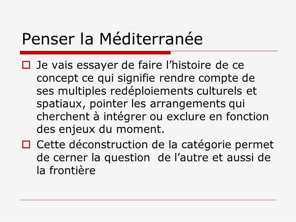la Méditerranée célébration et stigmatisation La célébration : le cas de Emile Masqueray en Algérie : la découverte de la cité, de la tribu intacte la stigmatisation: le patriarcat, la logique de lhonneur, de la vendetta et de la honte Le patriarcat et le statut du mâle
