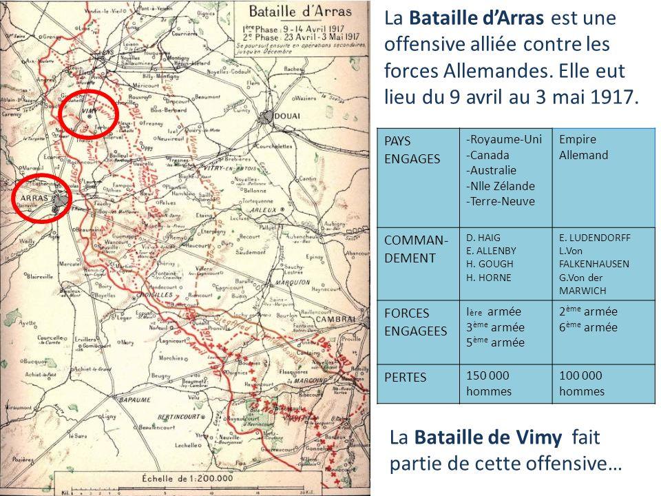 9 AVRIL-3 MAI 1917 LA BATAILLE DARRAS Royaume-Uni Canada Terre-Neuve Nouvelle- Zélande Australie