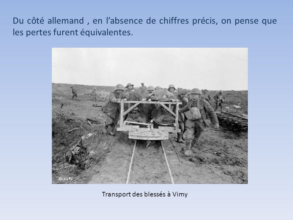 Larmée canadienne déplorera 3598 morts et 7104 blessés. Transport des blessés à Vimy