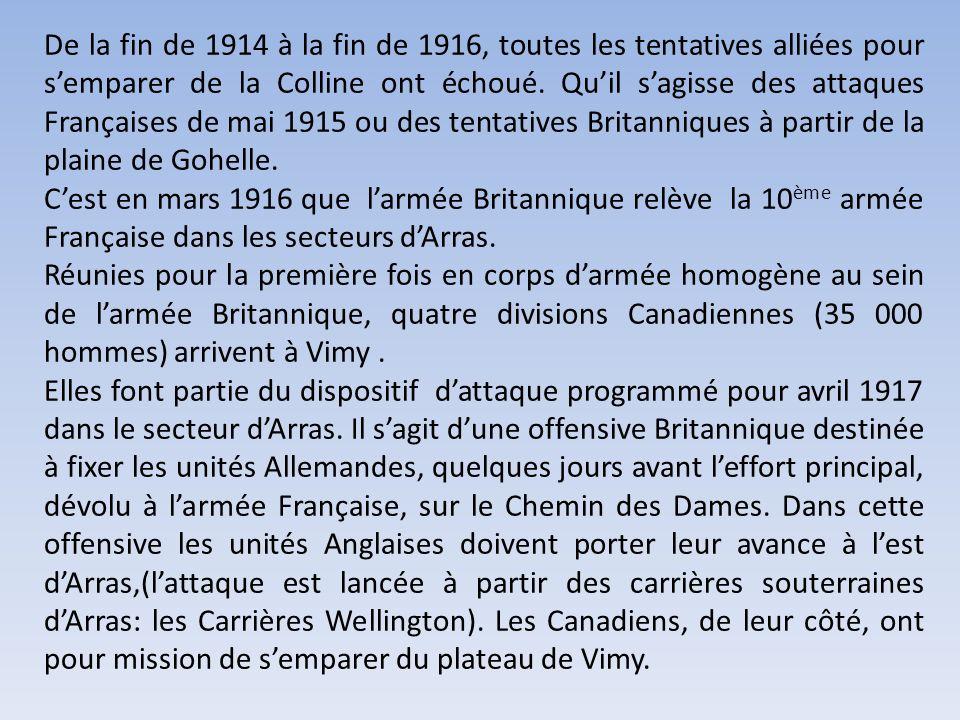 La Bataille de Vimy La petite ville de Vimy est située dans le Pas de Calais à 14 km au nord-est dArras. Située à lextrémité sud-ouest des collines dA